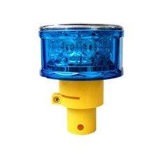 12 шт. синий светодиодный мигающий светильник на солнечной батарее Предупреждение светильник с желтой ручкой, солнечный Предупреждение светильник для безопасности дорожного движения