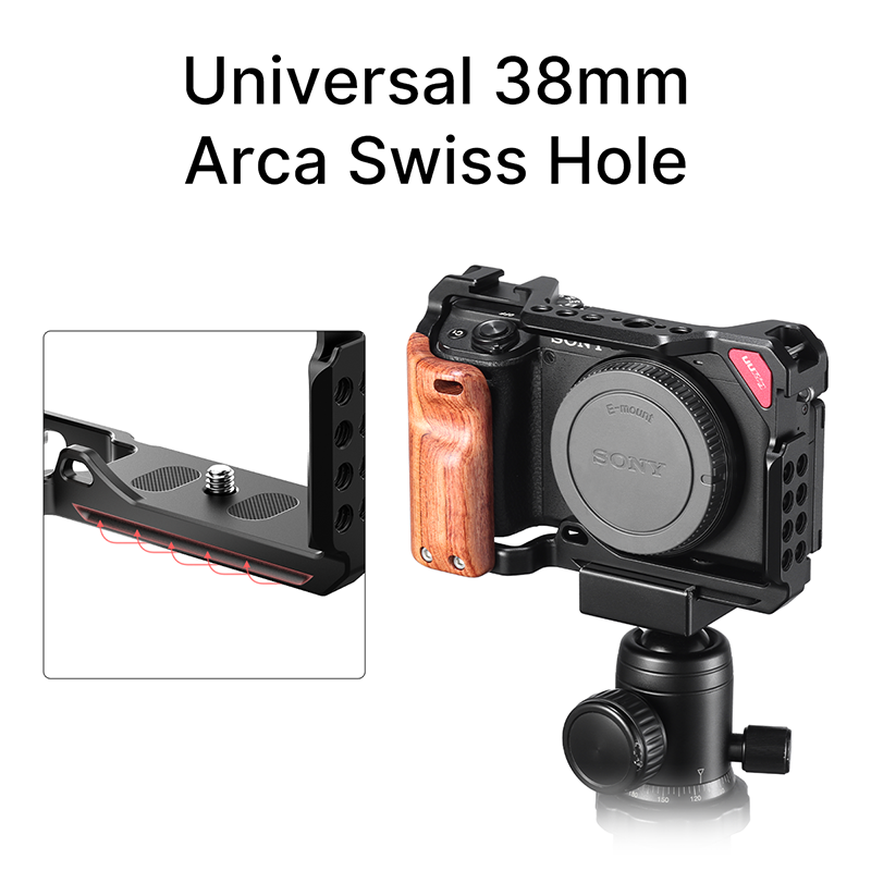 UURig Caméra En Métal Cage Pour Sony A6300 A6400 A6500 A6600 PLATE-FORME Avec Arca Swiss 2 Chaussure Froide Arri Trouver Le Trou Monture Micro Lumière de Remplissage