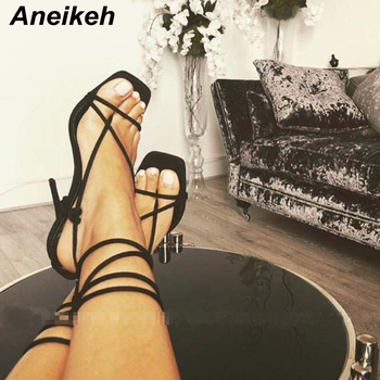 Aneikeh Women Shoes Gladiator Sandals Peep Toe Thin High Heels Sandals Summer Party Dress Shoes Cross Strap Lace-Up Sandal Pumps