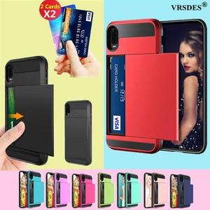 For Huawei P20 P30 Pro Lite P Smart 2019 Case Wallet Card Slot Sliding Door Hidden Pocket Case For Huawei P Smart 2019 P20 P30(China)