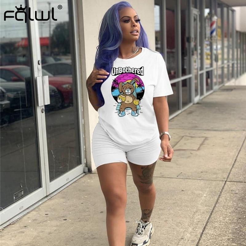 FQLWL White Black 2 Piece Set Women Summer Outfit Cartoon Print Two Piece Biker Shorts Set T Shirt Ladies Tracksuit Matching Set