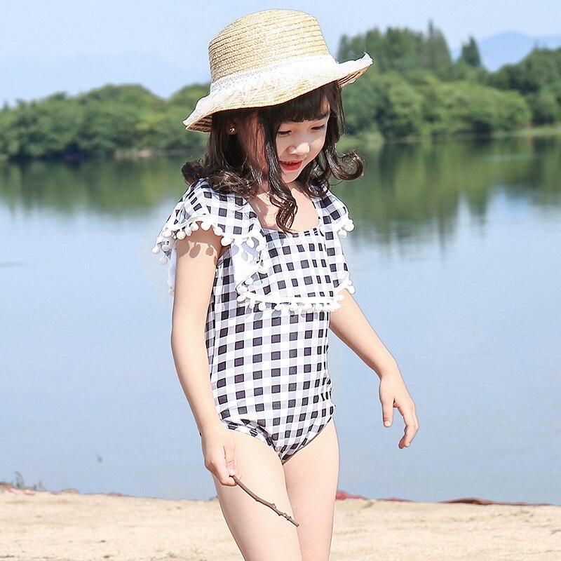KID'S Swimwear Girls Dress-Baby Swim Bathing Suit Large Children Princess Students GIRL'S Plaid Swimwear