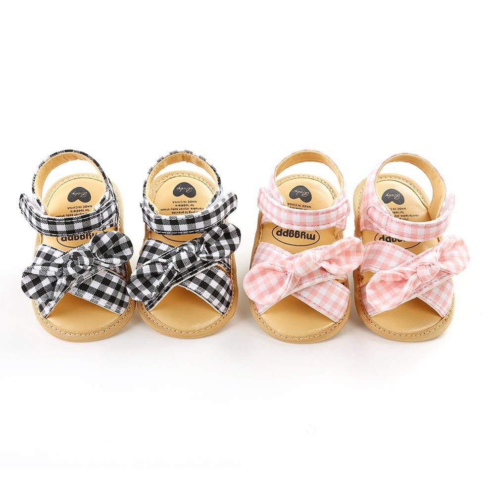 Summer Baby 0-18M Girls Bow Plaid Breathable Anti-Slip Sandals Toddler Soft Soled Shoes