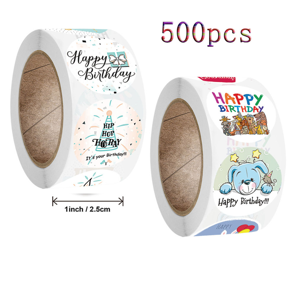 QIduo 500Pcs Cute Happy Birthday Stickers Animal Gift Kawaii Seal Label stickers for Kid Stationary Package aesthetic Stickers