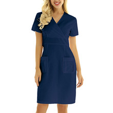 Nurse Working Uniforms 2021 Women Casual Short Sleeve V-Neck Workwear Pocket Dress Summer Pharmacy Nurse Uniforms For Women