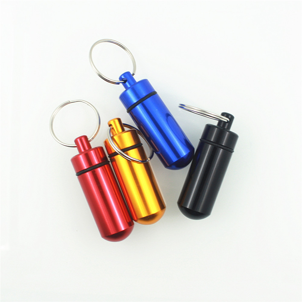 Clearance Outdoor Waterproof Aluminum Pill Box Medicine Case Container Bottle Holder Keychain Carabiner Pill Case Pillbox