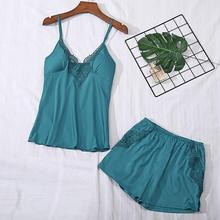 Plus Size Women Sleepwear Set Sexy V-Neck Lace Satin Bow Solid Cami Shorts Pajamas Set Conjunto Cueca 2020 New Drop Shipping YE plus knot front striped cami with shorts