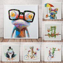 Bonne grenouille avec des lunettes toile Art affiches et imprimer mignon dessin animé Animal toile peintures sur le mur moderne salon décor