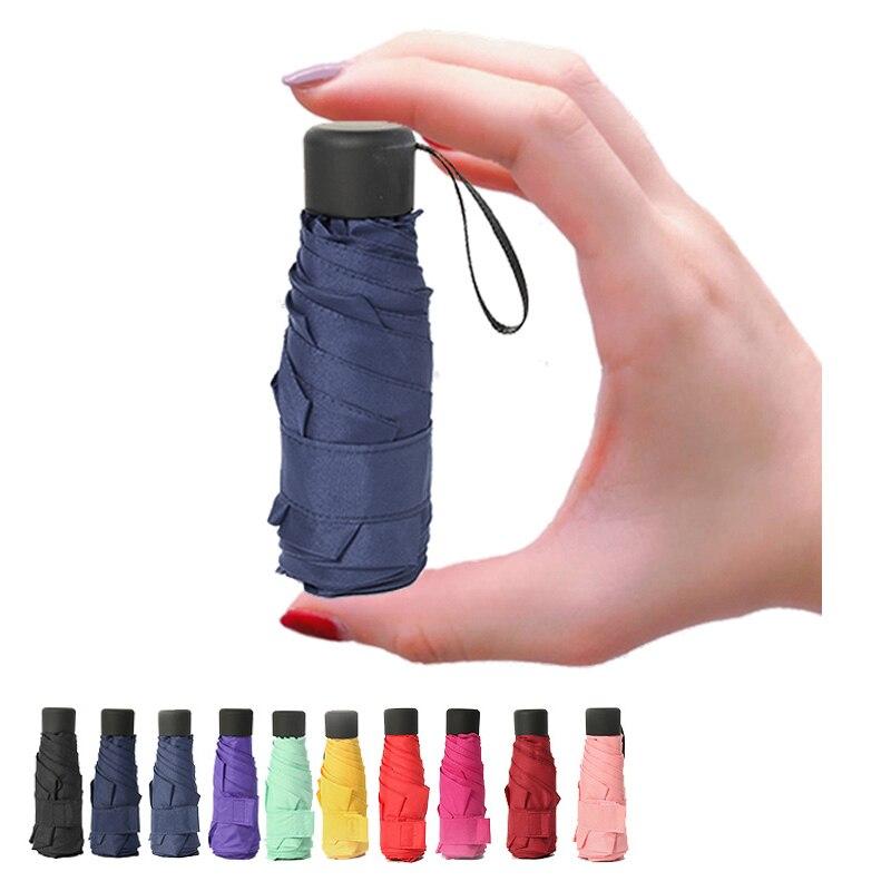 10 cores mini bolso dobrável guarda-chuva chuva feminino crianças dos homens meninas pequeno guarda-chuva 6 k parasol feliz natal presente