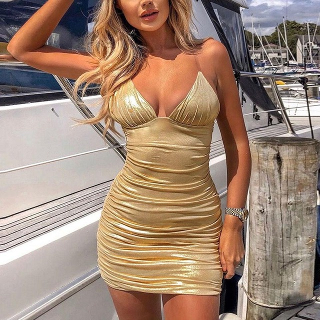 Backless Spaghetti Strap Bodycon Mini Dress Women V Neck Ruched Club Party Sexy Dresses Summer Bandage