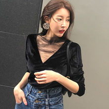 Fashion Sexy Mesh Stitching Velvet off shoulder T-shirt Women 2019 Autumn New Sexy Deep V neck Solid color Long sleeve mesh T(China)
