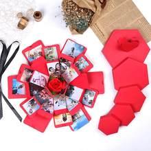 Caja de explosión creativa Hexagonal para álbum de fotos, regalo de aniversario, álbum de fotos DIY, regalo de cumpleaños
