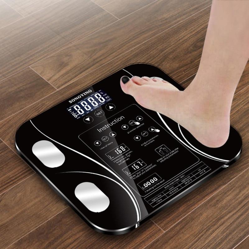Escala de Banheiro de Gordura Corporal quente b mi mi Peso Balanças de Chão display lcd Corpo Humano Digitais Indicador Eletrônico de Pesagem Inteligente escalas