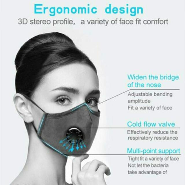 Reusable Face Mask PM2.5 Activated Carbon Filter for Breathing Insert Protective Anti Pollution Washable Cotton Masks for Adults 2