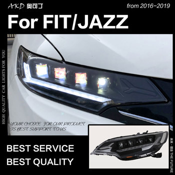 AKD Car Styling Head Lamp for Fit Jazz Headlights 2014-2018 Dynamic Signal LED Headlight LED DRL Hid Bi Xenon Auto Accessories