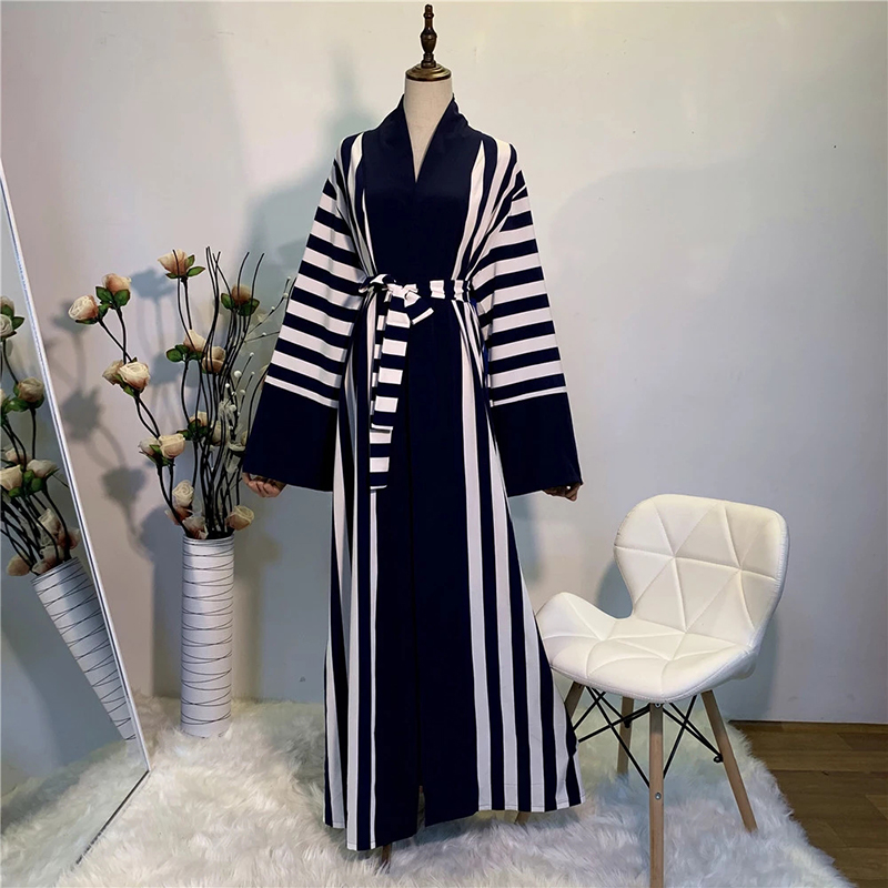 Striped Eid Abaya Kimono Muslim Cardigan Hijab Dress Abayas For Women Kaftan Dubai Oman Caftan Prayer Turkish Islamic Clothing