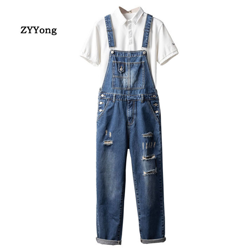 Men Denim Hole Bib Overalls Loose  Fashion Hip Hop Streetwear Jumpsuit Blue Tattered Jeans Homme Pants Freight Trousers
