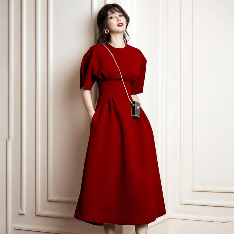Verão outono mangas curtas o pescoço vestido ol colete cintura vermelha longo formal vestido feminino vestidos elegantes nova chegada 2019 aa5090 - 6