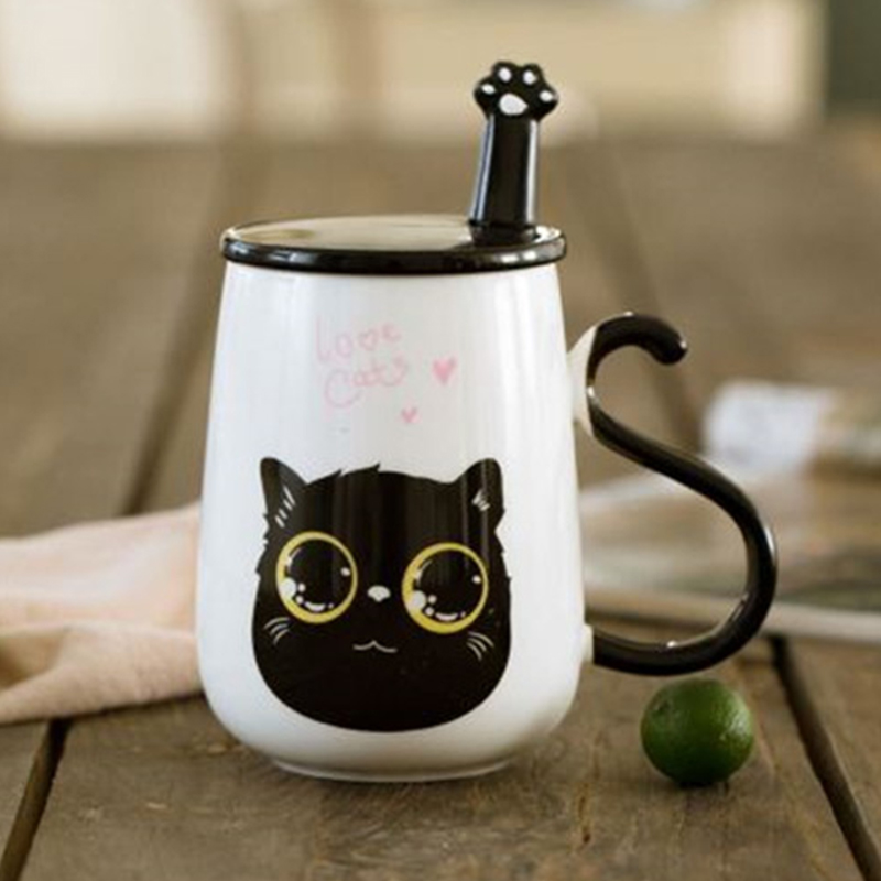 Cartoon Cat Ceramic Cup Coffee Cup with Lid and Spoon Milk Tea Cup Breakfast Cup
