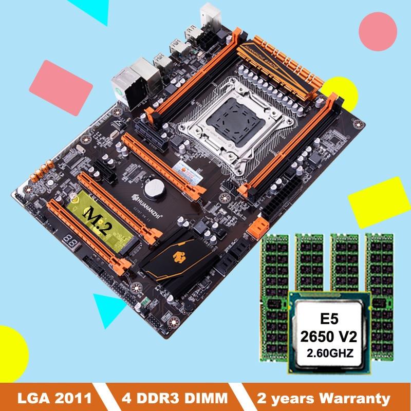 Descuento placa base con ranura m2 HUANANZHI Paquete de placa madre X79 deluxe con CPU Intel Xeon E5 2650 V2 RAM 32G (4*8G)