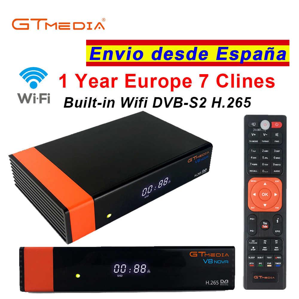 Gtmedia V8 Nova DVB-S2 Đầu Thu Vệ Tinh Bulit In Wifi 1 Năm Châu Âu Cccam 7 Clines Nâng Cấp Từ Freesat V8 Siêu TIVI Thụ Thể
