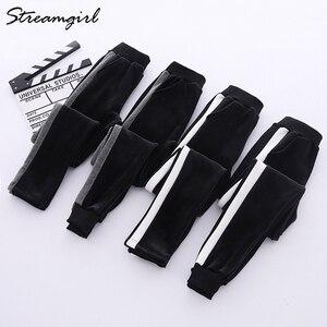 Image 5 - Sweatpants Mulheres Inverno quente Calças Com Listras Para A Mulher Do Lado de Veludo Listrado Harem Pants Calças de Inverno Mulheres Listrado Quente
