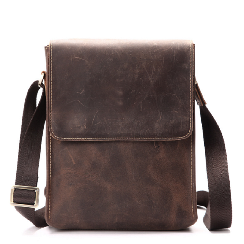 Men's Bags Crazy Horse Genuine Leather Vintage Crossbody Bags For Men IPAD Messenger Bag Business Men's Shoulder Bag Male