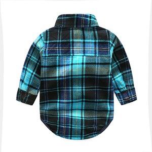Image 2 - Newborn clothes plaid shirt with jeans blue color bebes clothing set 2pcs/set hot sale chlild clothing set