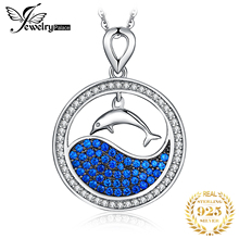 JPalace Dolphin Created Blue Spinel Pendant Necklace 925 Sterling Silver Gemstone Choker Statement Necklace Women Without Chain jewelrypalace 3ct created ruby pendant necklace 925 sterling silver gemstones choker statement necklace women without chain