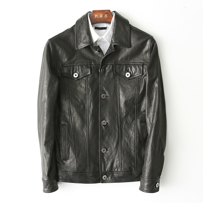 Vintage Genuine Leather Jacket Men Spring Autumn Sheepskin Coat Mens Leather Jacket Chaqueta Cuero Hombre KFS180193-0 KJ2164