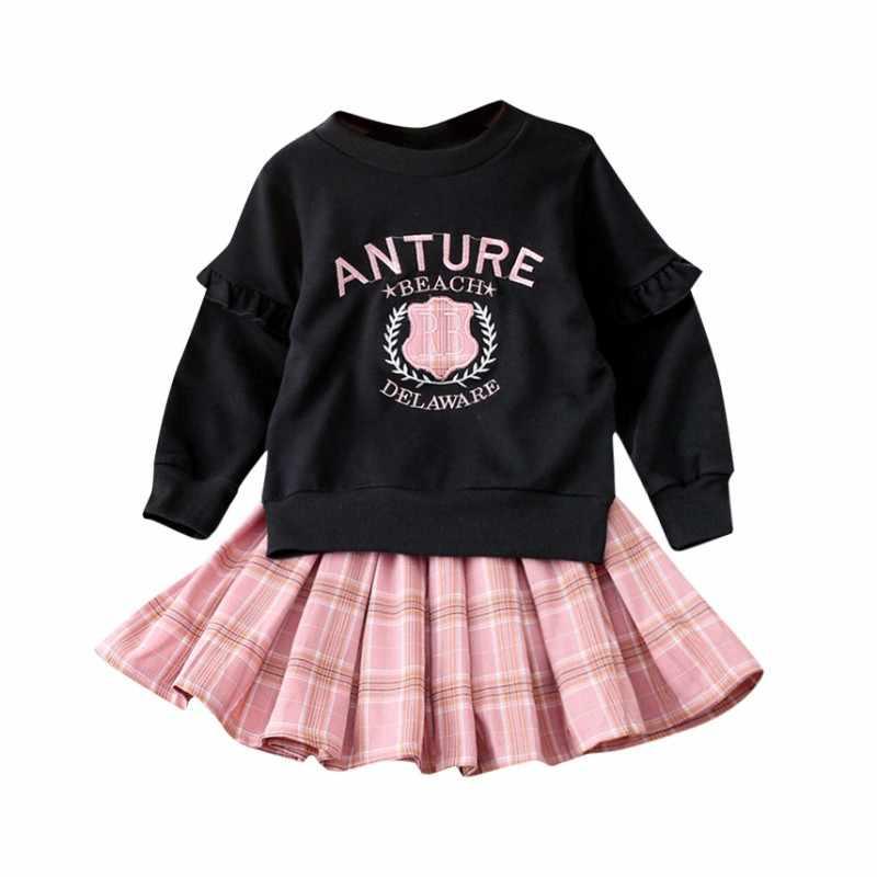ชุดเด็กทารกแขนยาว CottonBlouse เสื้อกระโปรงลายสก๊อตชุดน่ารักสาวชุดฤดูใบไม้ร่วงเด็กผู้หญิงชุดเสื้อผ้า