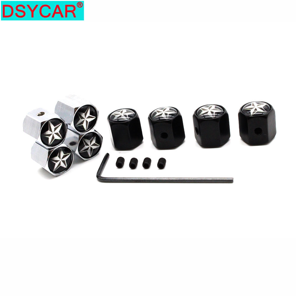 DSYCAR Car Styling Zinc Alloy Anti-theft Pentacle Star Logo Car Tire Valve Caps Wheel Tires Tire Stem Air Cap Airtight Covers