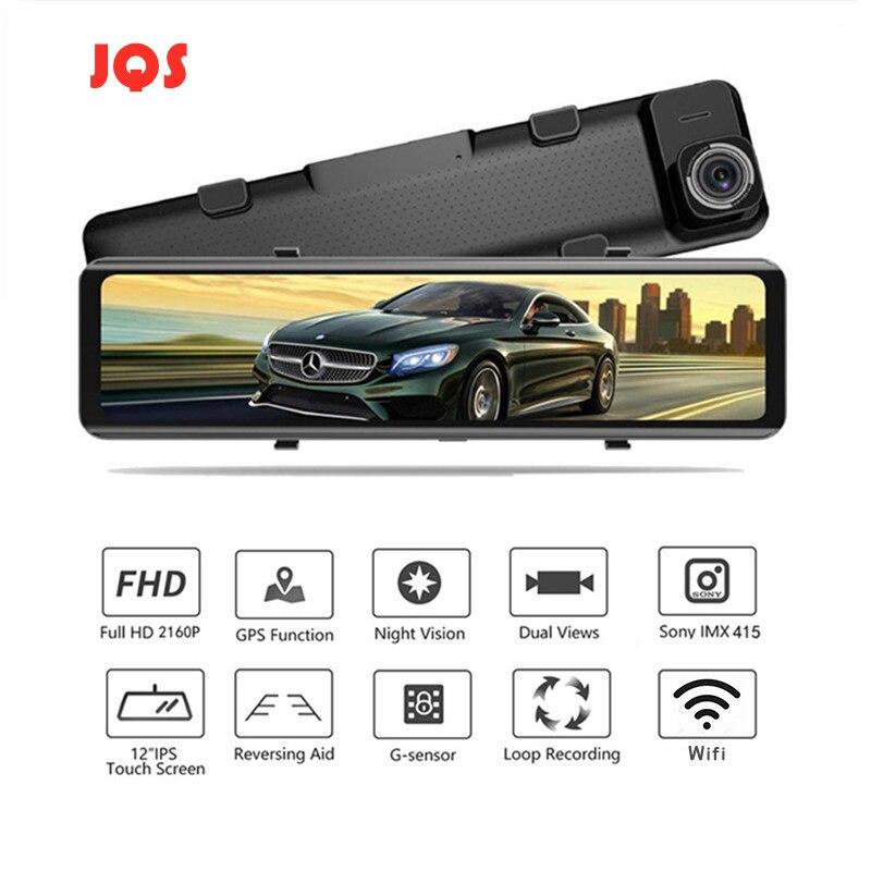 Автомобильный видеорегистратор 4K, видеорегистратор 12 дюймов 3840*2160P Sony IMX415, зеркало заднего вида с Wi-Fi, GPS-трек, Автомобильный регистратор с фу...