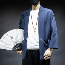 Kimono Jacket Japanese Traditional Costume Clothing Yukata Haori Men Samurai Male Men's