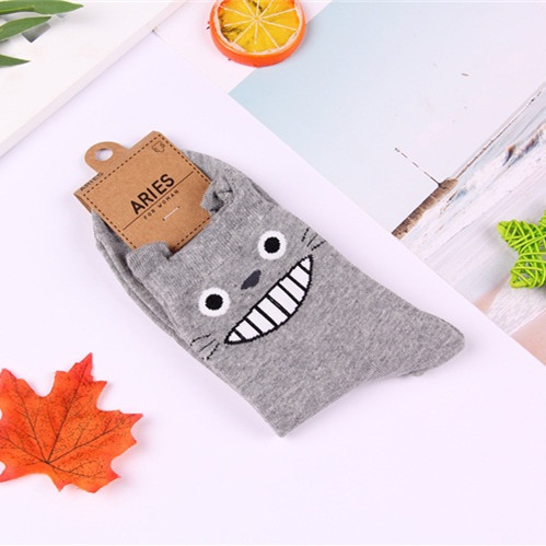 Anime Totoro Women Socks Woman No Face Man Cat Cartoon Cute Sock Funny Spring Autumn Comfort Happy Classic Korean Cotton Fashion