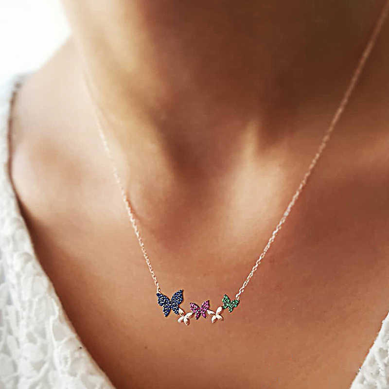 Personalized Crystal Butterfly Pendant Necklace 2019 Fashion Clavicle Sweater Bow Chain Necklaces For Women Jewelry FSPXL325