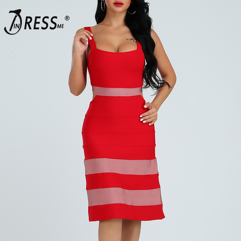 INDRSESME Women Bandage Dress A Line Strap Sexy Square Collar Knee Length Dress Party Dresses Club