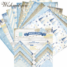 WISHMETYOU 24PCS Scrapbook Background Paper Album Photos Winter Pattern Card Making Single-Sided DIY Origami Accessories