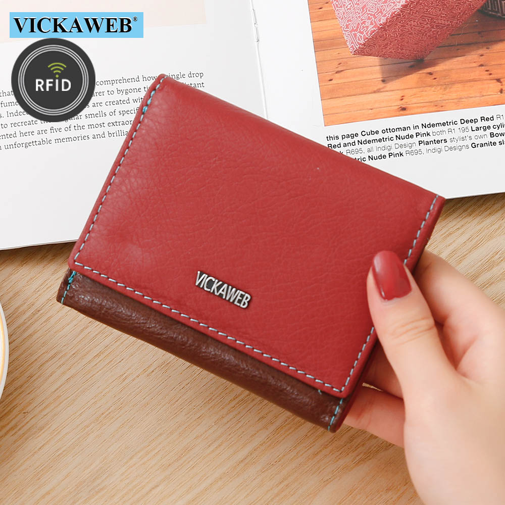 VICKAWEB Women Small Rfid Wallet Ladies Mini Genuine Leather Purses Female Fashion Short Wallets Woman Purse Womens Slim Walet