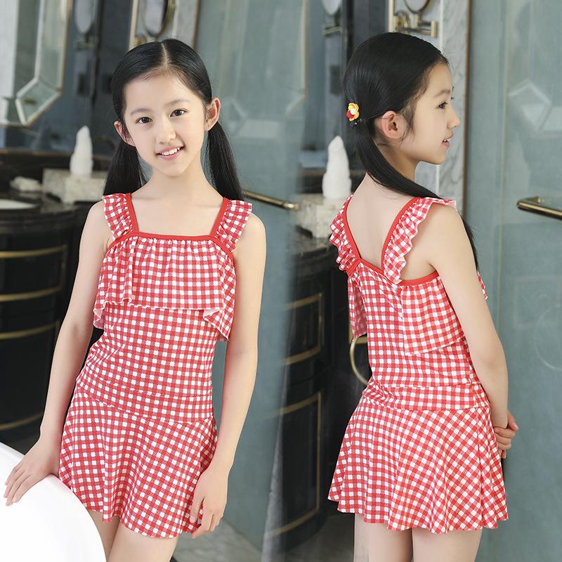 [KID'S Swimwear] GIRL'S Dress-Big Boy Swimwear Students Girls Hot Springs Tour Bathing Suit