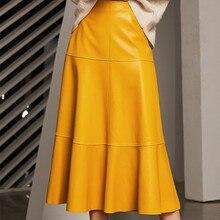 High Waist Real Sheepskin Genuine Leather Skirt Women High Quality Luxury Runway