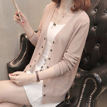 Ice silk air conditioning cardigan for women's new 2021 summer loose Korean sunscreen knitted shirt with small coat