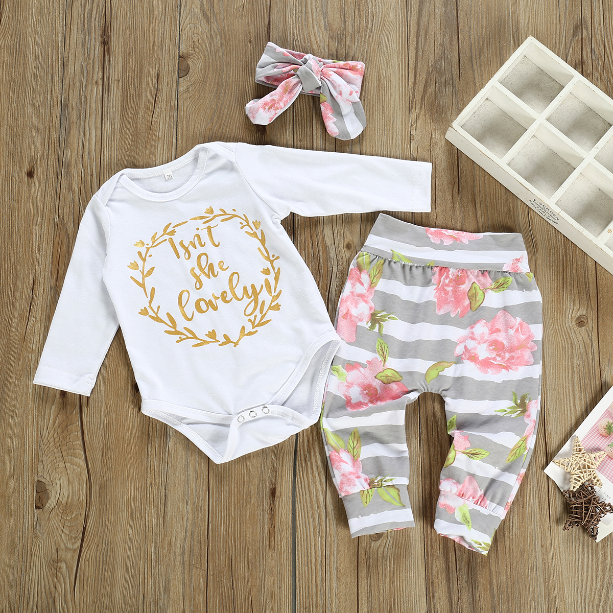 Newborn Baby Girls 0-12M Clothes 3Pcs Romper Tops Flower Pants Headband Outfits