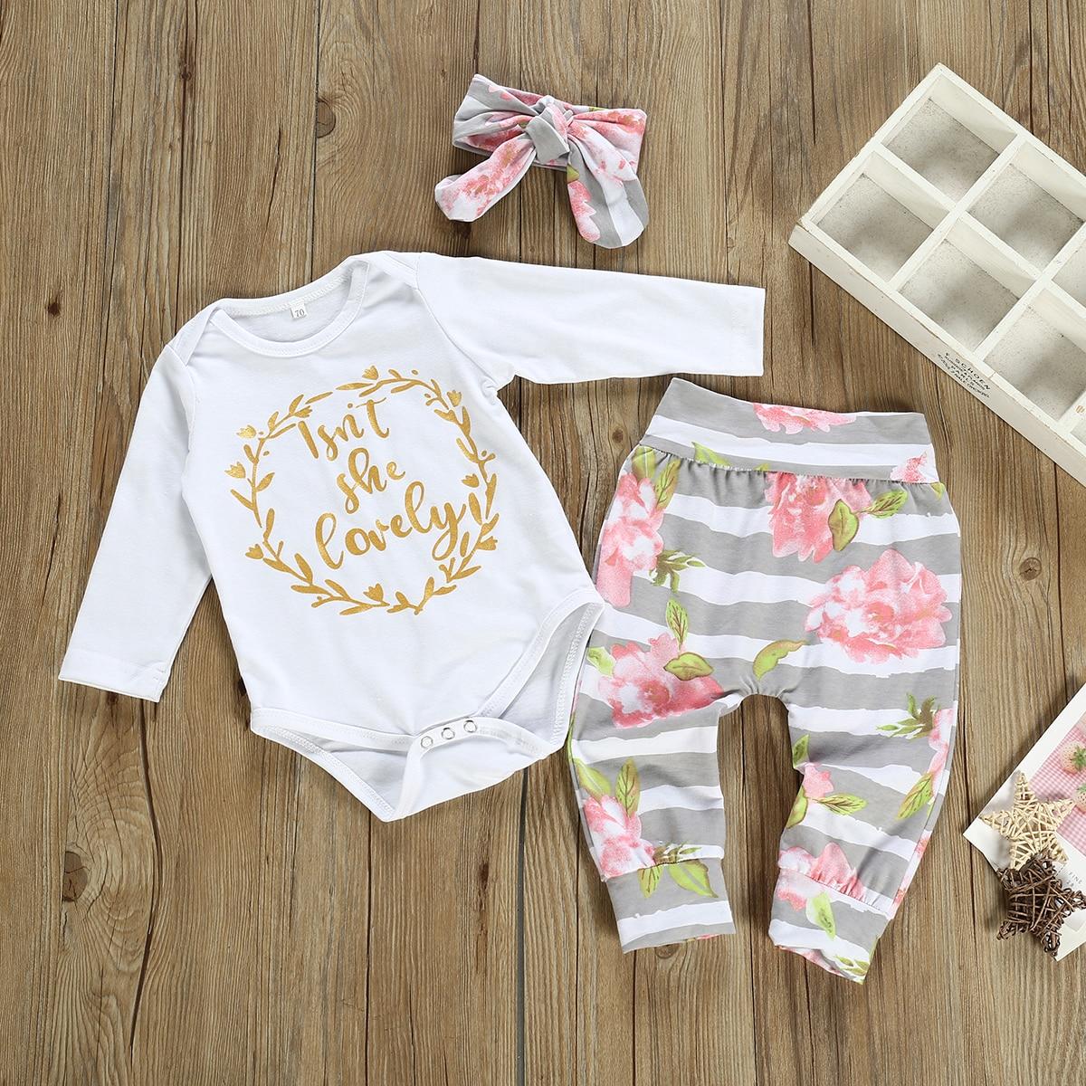 Newborn Baby Girls 0-12M Clothes 3Pcs Romper Tops Flower Pants Headband Outfits