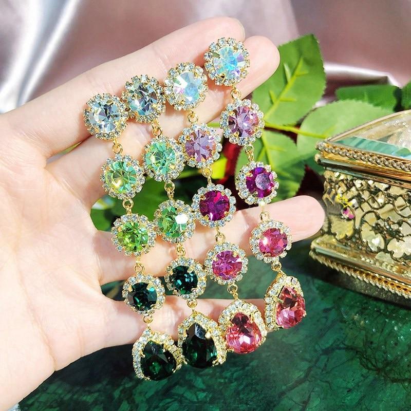 MENGJIQIAO 2020 New Korean Luxury Colorful Crystal Long Drop Earrings For Women Elegant Full Rhinestone Brincos Fashion Jewelry