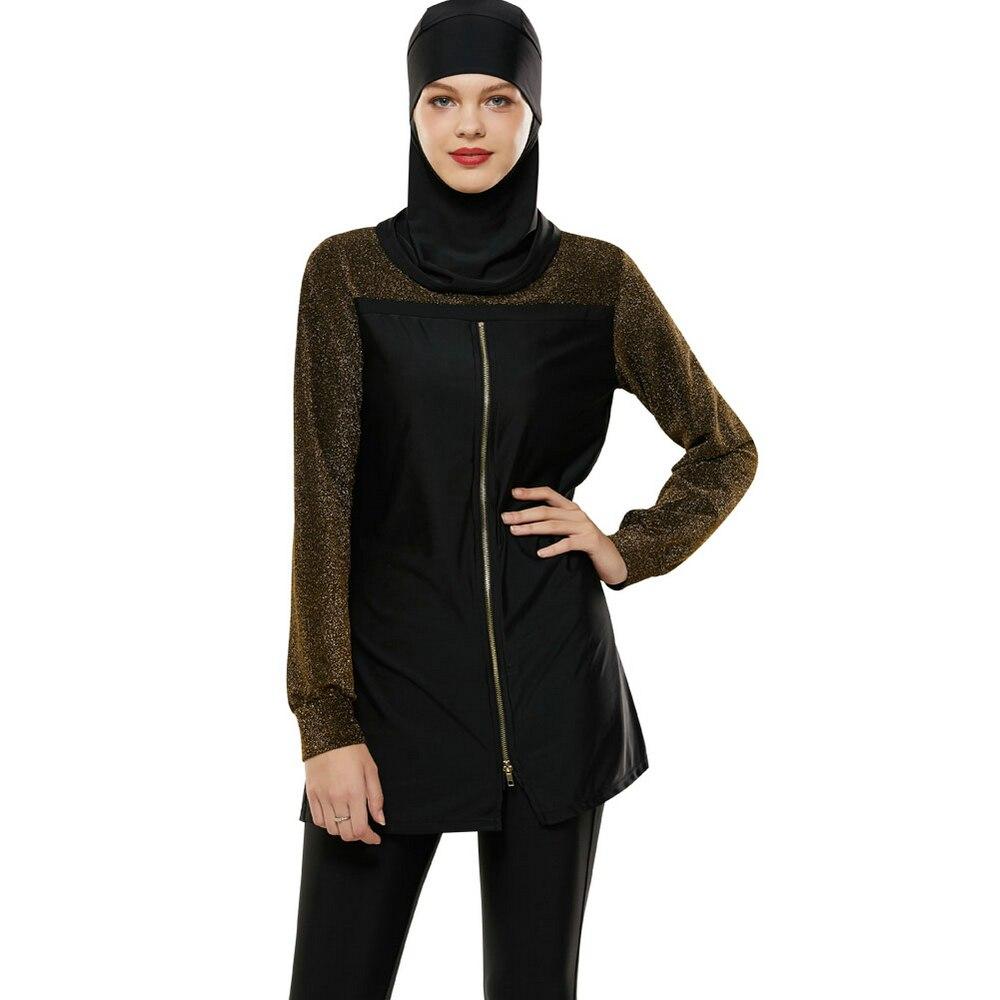 2019 conservateur femmes maillot de bain musulman Hijab musulman islamique maillot de bain bain Surf vêtements Sport Burkinis maillot de bain à fermeture éclair