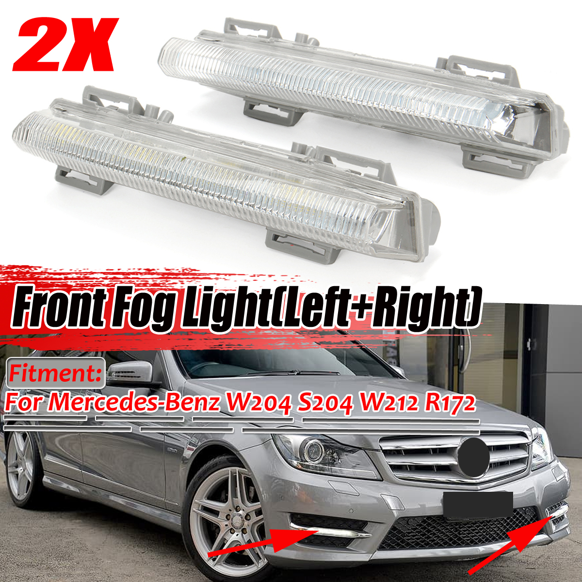 Front DRL Fog Light Right For Mercedes-Benz R172 W204 W212 C250 C280 C350 E350