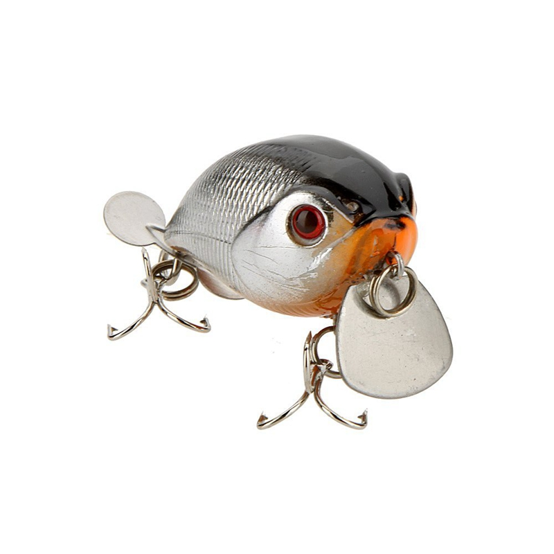 14g 5cm lure Fishing Lure little fat Chubby disc with triple hook diving 1m (Gold + gray)