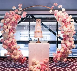 Image 5 - Homemade creative wedding arch with decor flower row DIY orchid turtle leaf rose peonies table flower garland flower arrangement