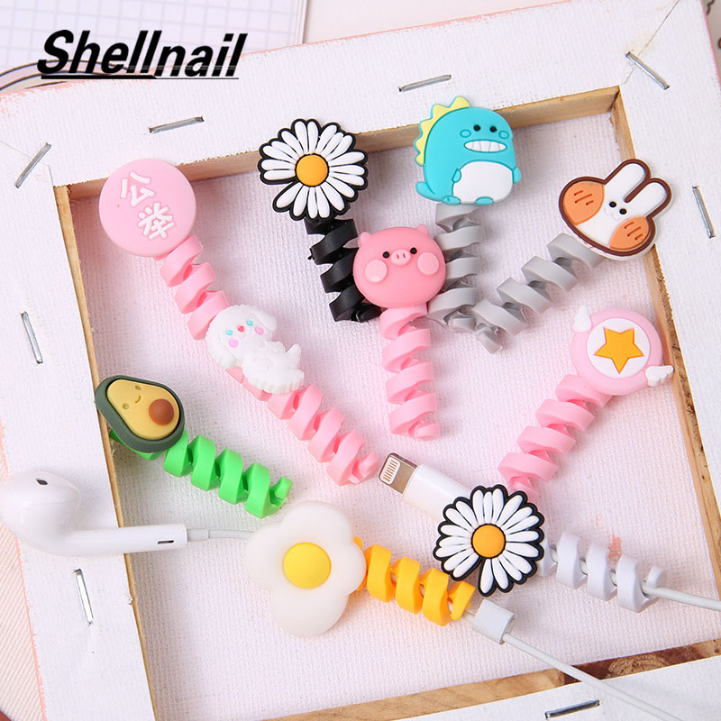 Shellnail Cute Cable Winder Organizer Mobile Phone Data Cable Protective Cover Cartoon Earphone Charging Cable Break Protector